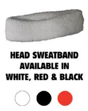 Head Sweatband In Red, White or Black